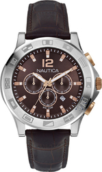 Nautica 100m Chronograph Brown Leather Strap A22620