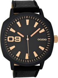 Oozoo Timepieces 50mm Black Case& Black Leather Strap C6034