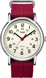 Timex Weekend Slip Through Red Fabric Strap T2N751
