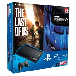 Sony Playstation 3 (PS3) Super Slim 500GB & GT6 Anniversary Edition & The Last Of US