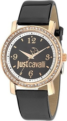 Just Cavalli Glow Crystals Black Leather Strap R7251103507