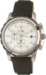 Fossil Chronograph Silver Dial Watch Brown Leather Strap FS4543