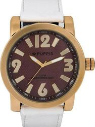 Puppis Rose Giold Case Brown Dial White Leather Strap PUM4105