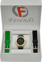 Ferendi Gold Case Black Dial Green Leather Strap 2020-18GB