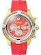 Breeze Flirtini Gold Chrono Red Rubber Strap 110211.5