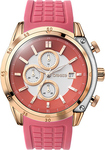 Breeze Stylish Tech Rose Gold Red Rubber Chronograph 110151.14