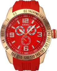 Angel New York Ladies Rose Gold Red Rubber Strap AR.2103.30/R