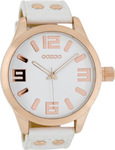 Oozoo 45mm Unisex White Leather Strap C1150