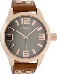 Oozoo 45mm Unisex Brown Leather Strap C1156