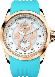 Jacques Farel Multifunction Crystals Light Blue Rubber Strap ATL4375