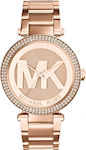 Γυναικείο Ρολόι Michael Kors Crystals Rose Gold Stainless Steel Bracelet MK5865