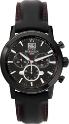 Michel Herbelin Citadines Chronograph Black Leather Strap 36669-N14
