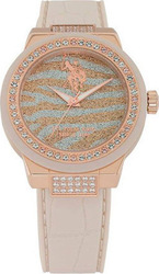 U.S. Polo Assn. U.s. Ladies Crystals Beige Rubber Strap USP5207TV