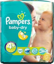 Pampers Baby Dry No 4+ (9-20Kg) 22τμχ