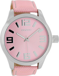 Oozoo 46mm Unisex Pink Leather Strap C6608