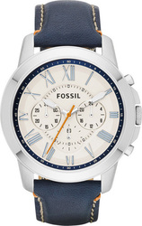 Fossil Grant Dark Blue Chronograph Leather Watch FS4925