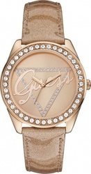 Guess Crystal Rose Gold Logo Dial Rose Gold Leather Strap W0023L4