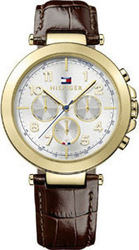 Tommy Hilfiger Multifunction Gold Brown Leather Strap 1781453