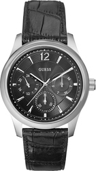 Guess Multifunction Black Leather Strap W0475G1