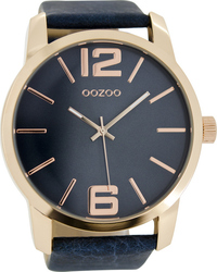 Oozoo Timepieces XXL Blue Leather Strap C6712