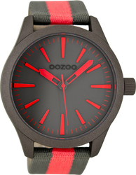 Oozoo XL Timepieces Grey And Red Fabric Strap C6728