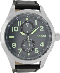 Oozoo XXL Timepieces Black Leather Strap C6763