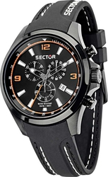 Sector 180 Chrono Black Rubber Strap R3271690011