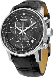 Vostok Europe Gaz 14 Limousine Grand Chronograph Black Leather Strap 6S30-5651174