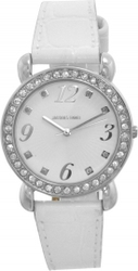 Jacques Farel Crystals White Leather Strap CFD8844