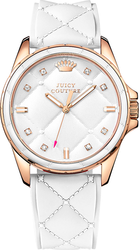 Juicy Couture Women's Stella White Quilted Silicone Dial Watch 1901102