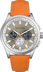 Nautica Nautica Nct 17 Stainless Steel Watch With Brown Leather Band A16692G