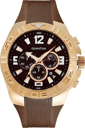 Quantum Hunter Rose Gold Brown Rubber Strap HNG357.03