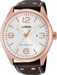 Lorus Pilot Three Hands Rose Gold Stainless Steel Leather Strap RH956DX-9