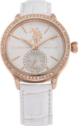 U.S. Polo Assn. Crystals Rose Gold White Leather Strap USP5192RG