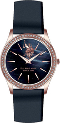 U.S. Polo Assn. Crystal Ladies Rose Gold Blue Leather Strap USP5252BL