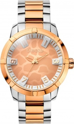 Breeze Safari Chic Three Hands Two Tone Rose Gold Stainless Steel Bracelet 710381.4