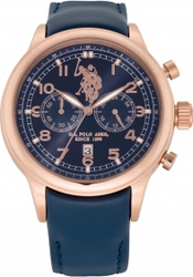 U.S. Polo Assn. Rose Gold Blue Leather Chronograph USP4220BL
