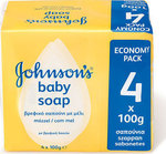 Johnson & Johnson Johnson's Baby Soap με Μέλι 4*100gr