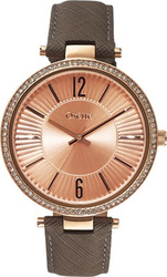 Oxette Crystal Ladies Rose Gold Brown Leather Strap 11X65-00087
