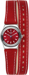 Swatch Irony Red Street Wrist Blue Fabric And Leather Strap YSS289