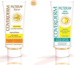 Coverderm Filteray Tinted Face Cream SPF60 Light Beige 50ml & After Sun Cream Gel 50ml