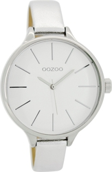 Oozoo Timepieces Silver Leather Strap C6965