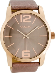 Oozoo Timepieces Xxl Rose Gold Brown Leather Strap C7016