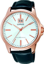 Lorus Rose Gold Black Leather Strap RQ526AX9