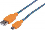 Manhattan Braided USB 2.0 to micro USB Cable Μπλε 0.5m (394161)