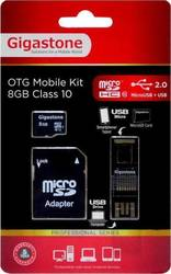 Gigastone microSDHC 8GB Class 10 with Adapter & OTG