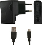 LG micro USB Cable & Wall Adapter Μαύρο (STA-U15)