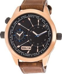 3Guys Dual Time Brown Leather Strap 3G14554