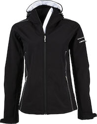 Ladies Hooded Fashion Softshell Jacket Tee Jays 9554 - Black