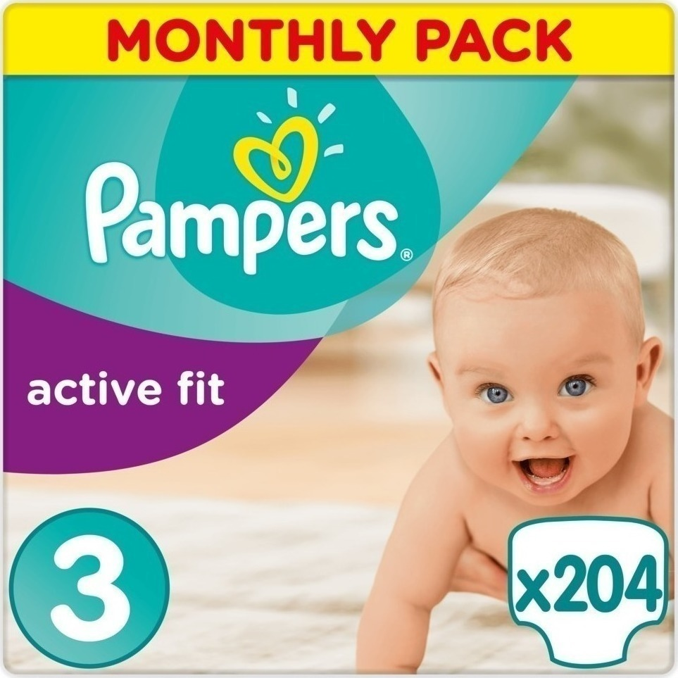 5905a4a99413 Προσθήκη στα αγαπημένα menu Pampers Active Fit Monthly Pack No 3 (5-9 Kg)  204τμχ